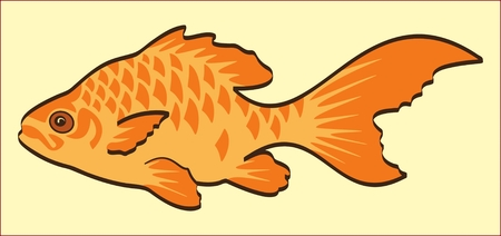 GOLD FISH color image of a golden fish on a yellow background