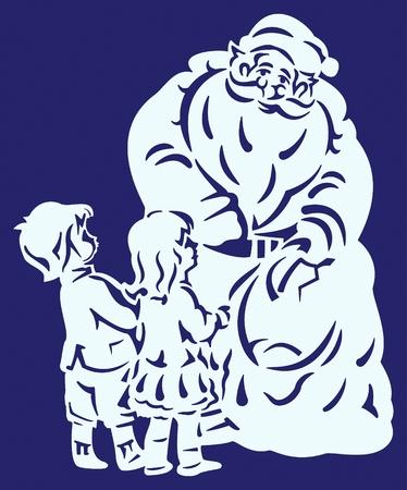 SANTA CLAUS AND CHILDREN Ilustração