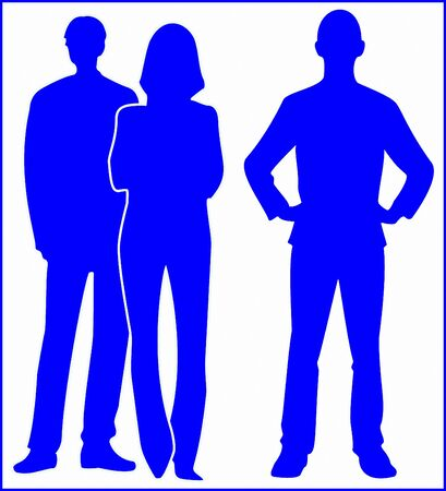 YOUNG PEOPLE SILHOUETTE colored on white background