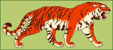TIGER PREDATORY ANIMAL color image of a cat family Ilustração