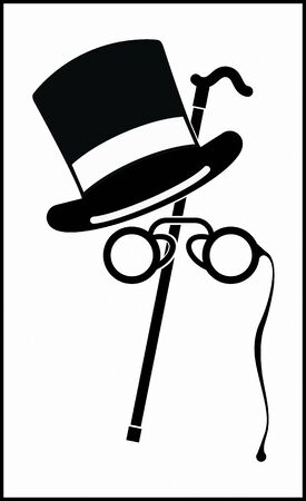 BOWLER HAT, WALKING STICK AND PINCE-NEZ SAMPLE black and white