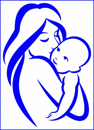 mother and baby illustration isolated on white
