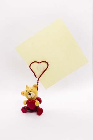 Valentine Day decor bear heart background. Paper holder.