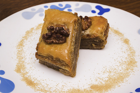 Baklava homemade sweetness on a white plate