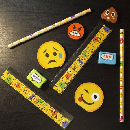 School supplies stationery, pencils, rulers, erasers on a dark table Stok Fotoğraf
