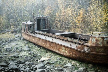 Ships graveyard. misty morning