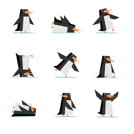 flapping: Isolated penguin cartoon flat style in nine different situations like: standing, sliding, clumsy, stand on head, slipping, sitting, just lie, look back, flapping wing