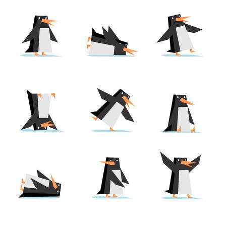 maldestro: stile piatto isolato cartone animato pinguino in nove diverse situazioni, come: in piedi, scorrevole, goffo, stare in piedi sulla testa, scivolando, seduto, solo mentire, guardare indietro, sbattendo ala