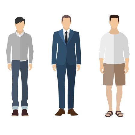 different figures: Three men flat style icon people figures in different views like: man in casual dress, business man dress, pleasure clothes Illustration
