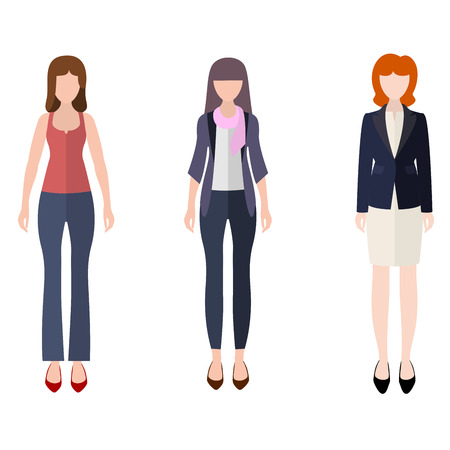 different figures: Three women flat style icon people figures in different views like: in casual dress, free style dress, fancy in orange jacket and business lady