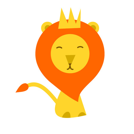 lion cartoon: Isolated lion cartoon flat style with the crown Illustration