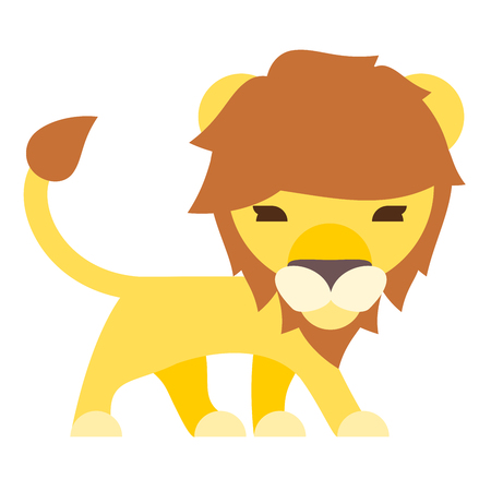 lion cartoon: Isolated lion cartoon flat style side body