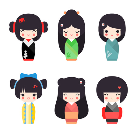 kokeshi: illustration set of cute Japanese kokeshi dolls in different color dress and different hairs Illustration