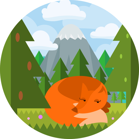 clearing: Cartoon flat style fox sleep on clearing in the woods with mountain and forest background