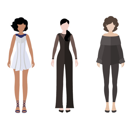 dress code: Three women flat style icon people figures in different views like: brunette in white dress, strict dress code and brown hair in gray fashion suit Illustration