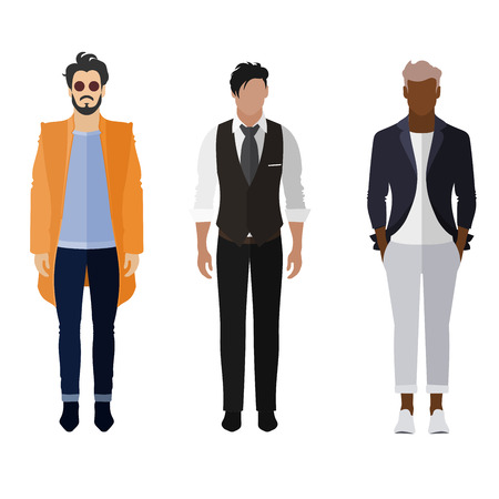 dress code: Three men flat style icon people figures in different views like: man in orange trendy coat, business man dress and smarty dress code Illustration