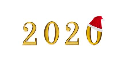 Happy New Year 2020. Golden symbol from number 2020 with Santa hat isolated on white background Stockfoto