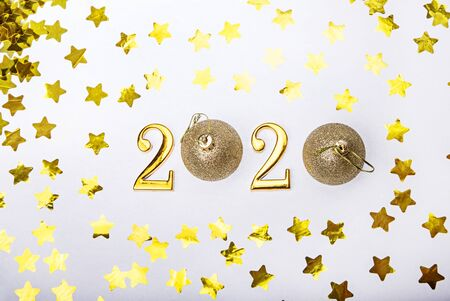 Happy New Year 2020. Golden symbol from number 2020 with stars. Stockfoto
