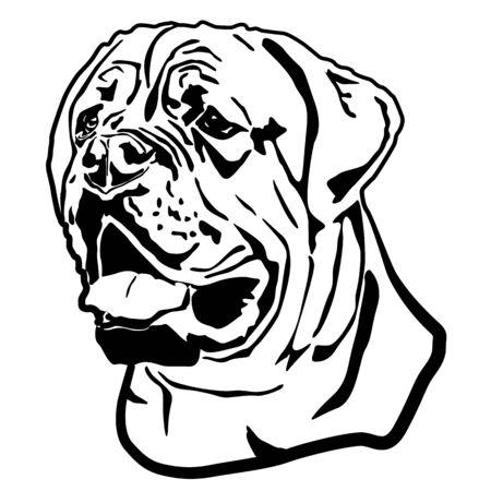 Ritratto di testa di mastino inglese, cane Bullmastiff. Schizzo delineato isolato, illustrazione vettoriale di contorno Vettoriali
