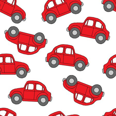 Seamless pattern Cartoon red retro car for kids design,vector illustration for prints, textil on white backgroundd