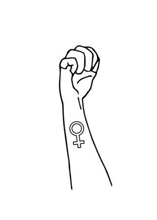 Feminism symbol. Female gender sign. Protest hand fist. Girl power. Vector illustration. Isolated background