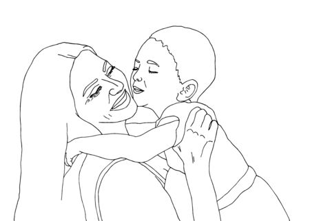 Mutter und Baby. Muttertag, 8. März. Mutter halten Sohn. Kind küsst Mutter. Hand zeichnen Vektor-Illustration Vektorgrafik