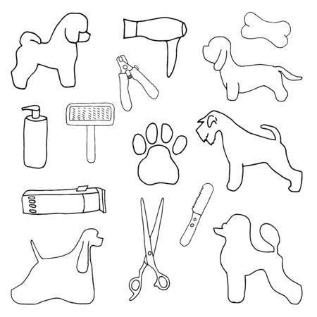 Dog per grooming salon. Poodle, Schnauzer, Dandie Dinmont Terrier, Bichon Frise, American Cocker Spaniel, grooming tools vector set