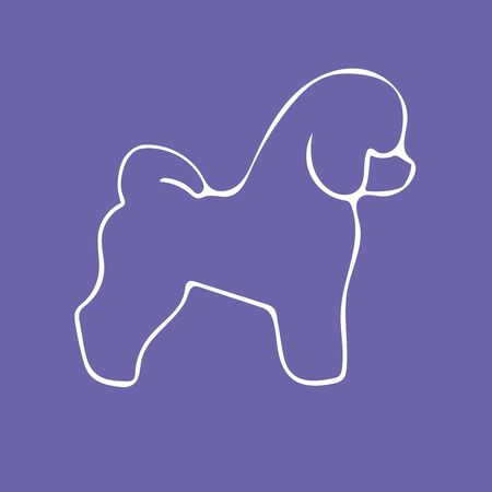 Bichon Frise Dog silhouette and breed name on violet background. Logotype isolated vector illustration