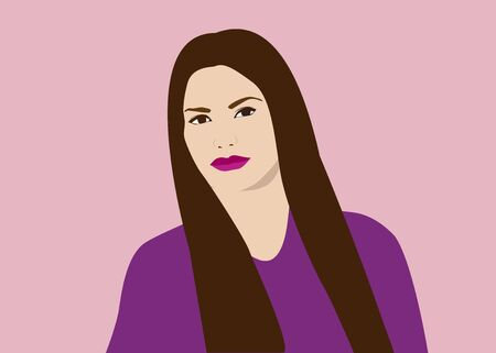 Simple portrait of beautiful fashion young woman with broun long hair on pink background. Vector illustration.