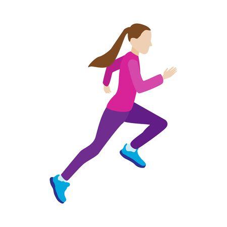 Running jogging girl. Sport fitness training. Flat vector illustration on white background.