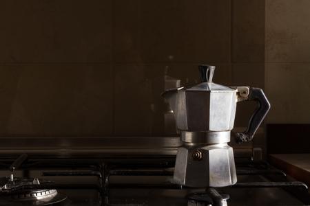 Typical Italian moka, above the burner