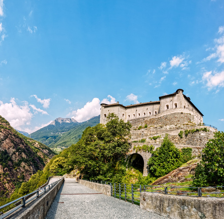 Fort Bard, Valle dAosta, Italy - August 18, 2017: Fort Bards Historic Military Constructions Defense. Touristic medieval fortress in the Italian Alps Editorial