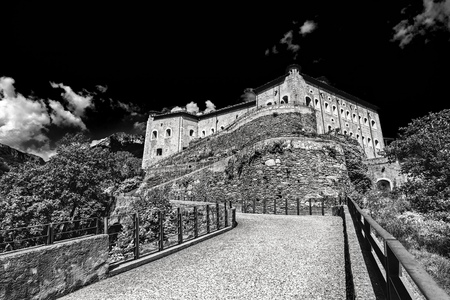 bard: Fort Bard, Valle dAosta, Italy - Agoust 18, 2017: Historic military contruction defence Fort Bard. Touristic medieval fortress in Italian Alps. Location of the Avengers: Age of Ultron film. Editorial