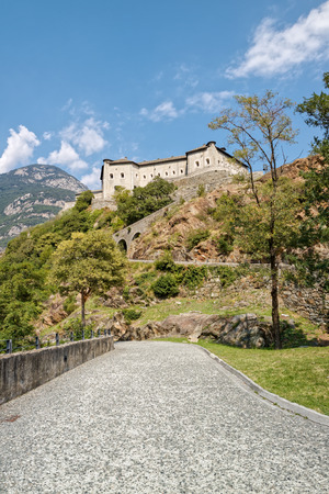 bard: Fort Bard, Valle dAosta, Italy - August 18, 2017: Historic military construction defence Fort Bard. Touristic medieval fortress in Italian Alps. Location of the Avengers: Age of Ultron film. Editorial