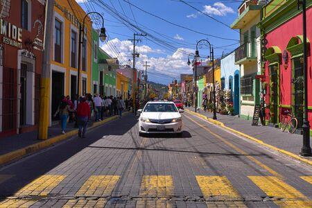 Avenida Morelos street of Cholula at sunny day