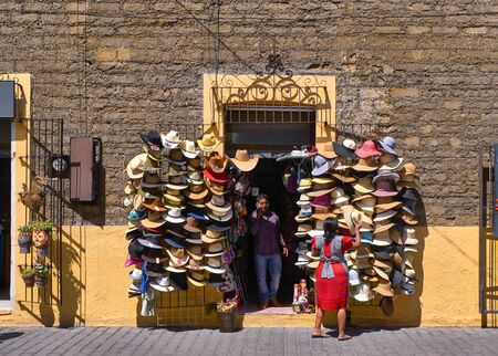 Shop of traditional Mexican hats in Cholula
