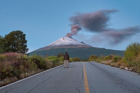 Young man on the road to Popocatepetl volcano