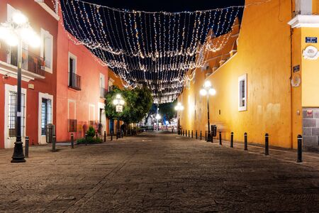 Calle 8 Norte of Puebla with light decoration at night