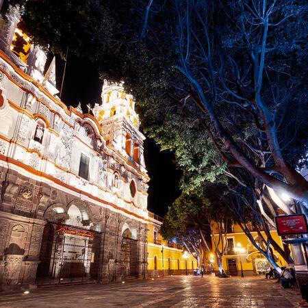 Historic Church of La Compania in Puebla city at night