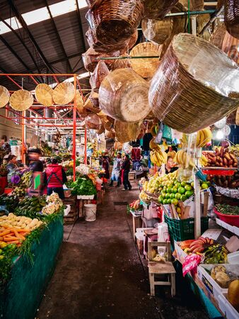 Fruit and vegetable stalls in Mexican Market of San Pedro Cholula 新闻类图片