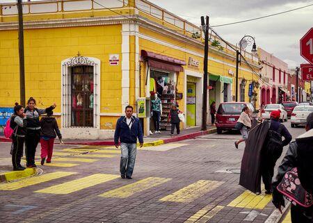 Pedestrian crossing in center of San Pedro Cholula 新闻类图片