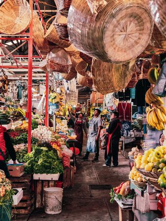 Daily scene of Mexican market in San Pedro Cholula
