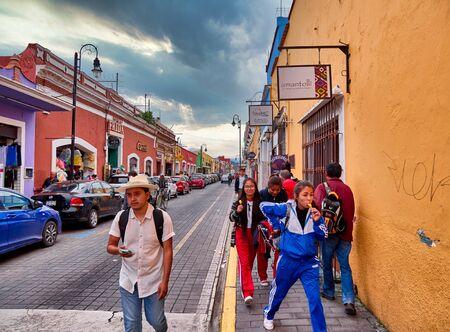 Avenida Hidalgo of San Pedro Cholula at day with dramatic sky 新闻类图片