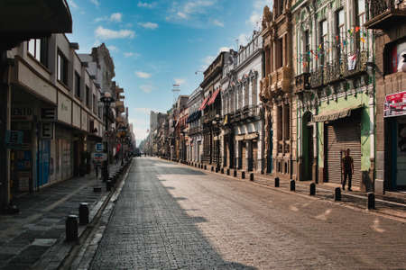 Empty street Avenida de la Reforma in Puebla city during the Covid-19 virus, Puebla de Zaragoza, Mexico, in April 9, 2020.