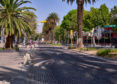 Empty street Avenida Juarez without people and vehicle in Puebla city during the Covid-19 virus, Puebla de Zaragoza, Mexico, in April 9, 2020.