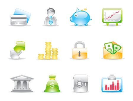business shiny icons Stock Vector - 11205997
