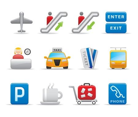cool down: iconos del aeropuerto Vectores