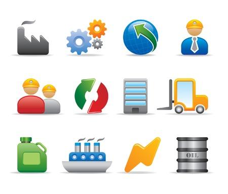 oliedrum: industrie iconen Stock Illustratie