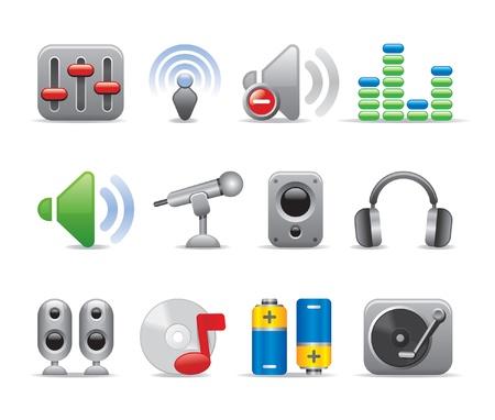 radio button: musica icone Vettoriali