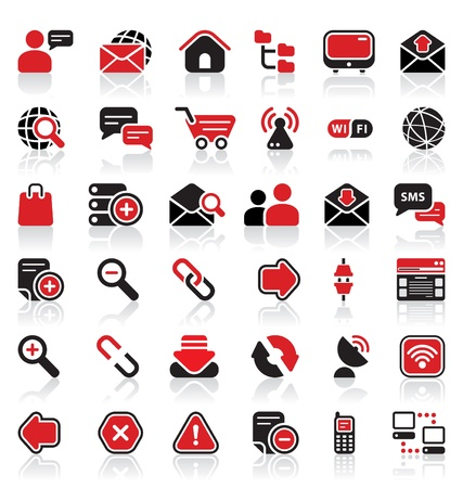 round icons: 36 communication icons Illustration
